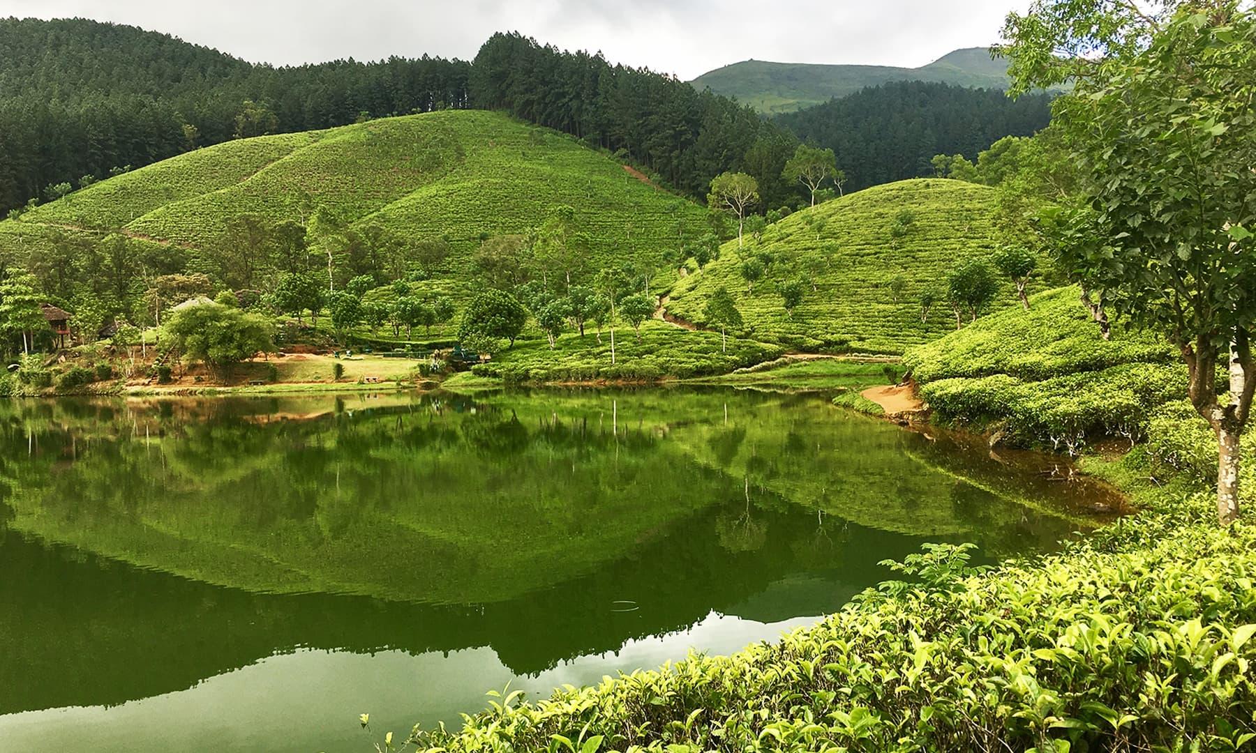 سرسبز و شاداب پہاڑوں کا عکس یوں معلوم ہوتا ہے کہ جھیل کے نیچے بھی ایک دنیا آباد ہے—تصویر امتیاز احمد