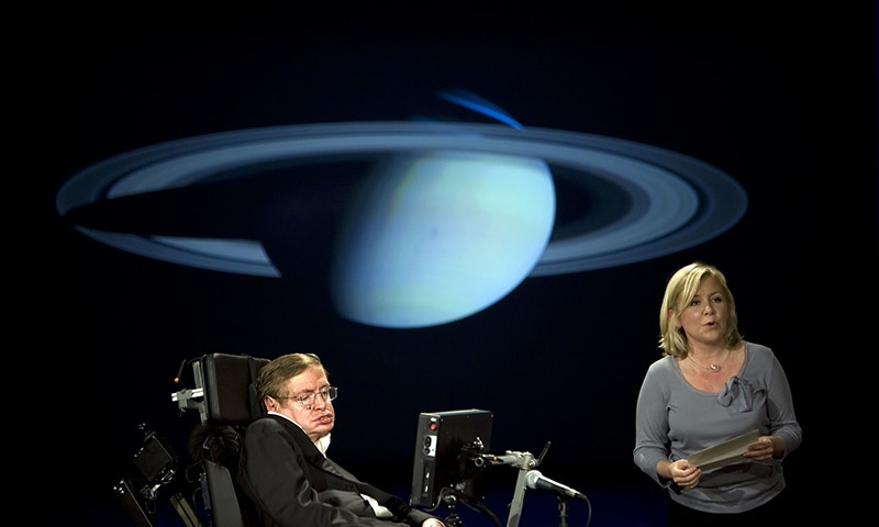 British physicist Stephen Hawking and his daughter Lucy Hawking, on April 21, 2008, gave a lecture entitled 'Why We Should Go Into Space' during the 50 Years of NASA lecture series at George Washington University in Washington, DC. — AFP