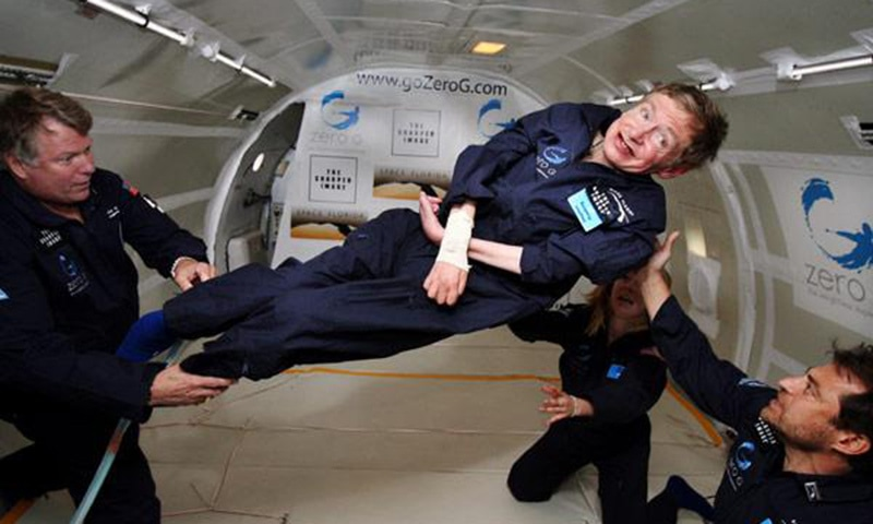 Stephen Hawking, in 2007, experienced a total of four minutes of weightlessness in a plane that dives through the sky to give passengers a taste of zero gravity. — AFP