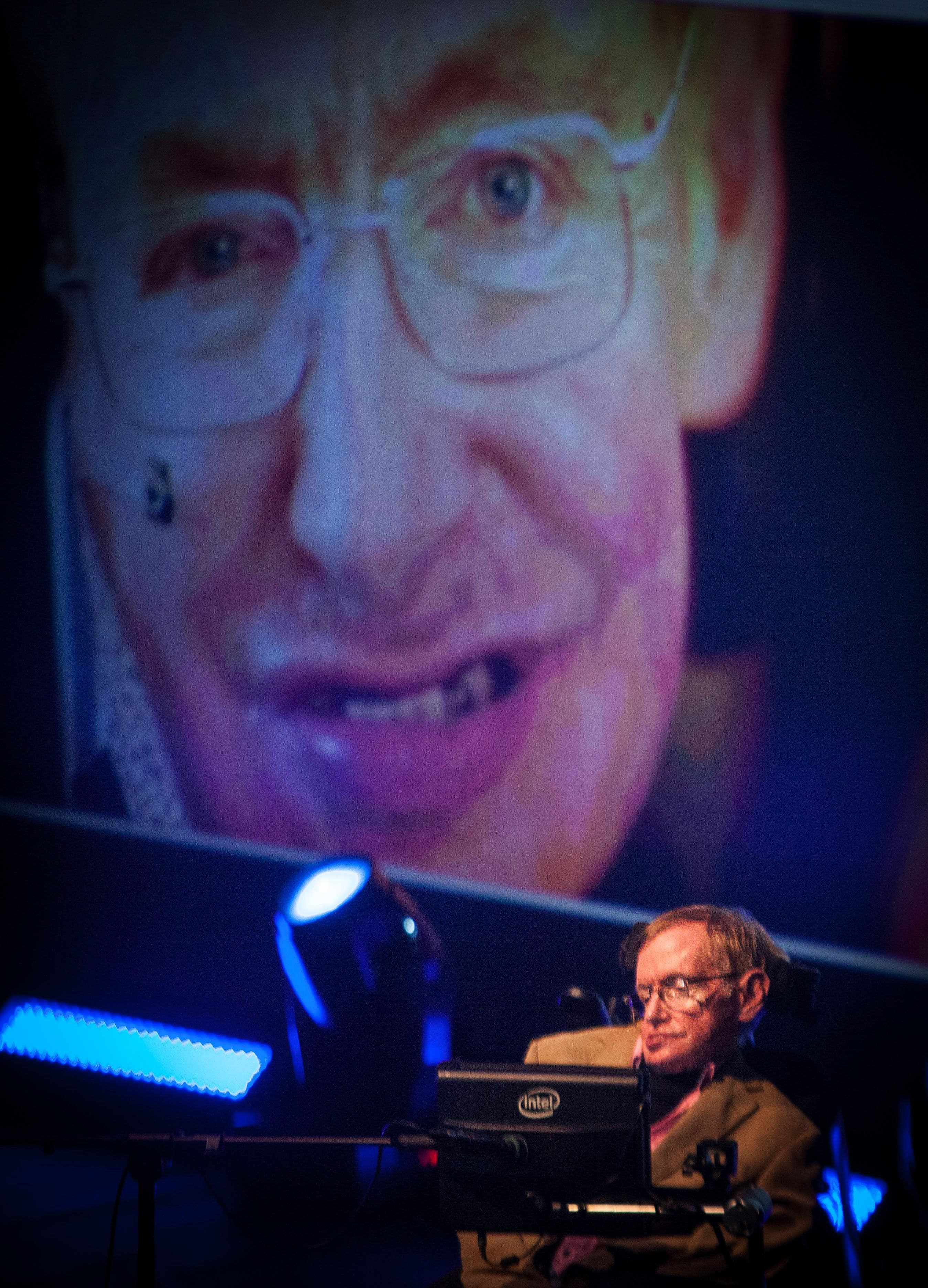 Hawking gives a lecture during the Starmus Festival on the Spanish Canary island of Tenerife on September 23, 2014. — AFP