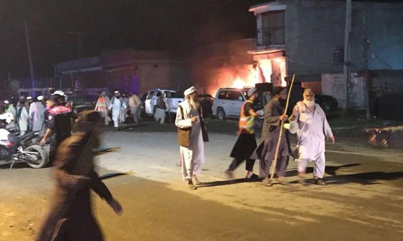 The explosion occurred near a police check post on Raiwind Road. —DawnNewsTV