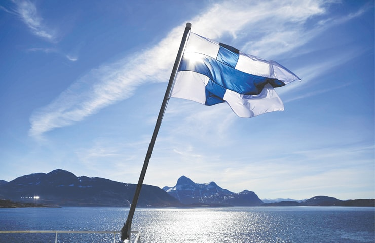 FINLAND'S flag flies aboard the icebreaker MSV Nordica as it arrives into Nuuk, Greenland, in this file photo.—AP