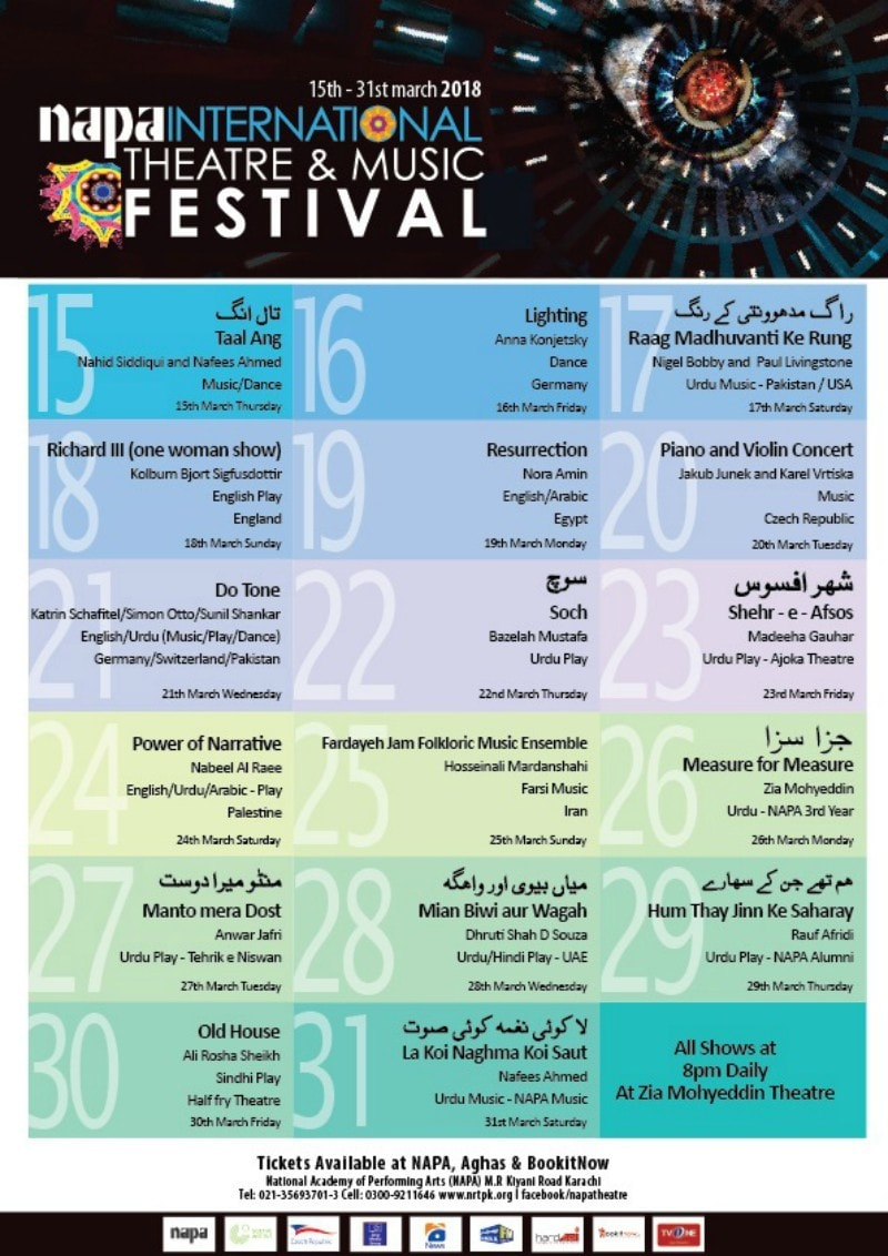 The schedule for the festival