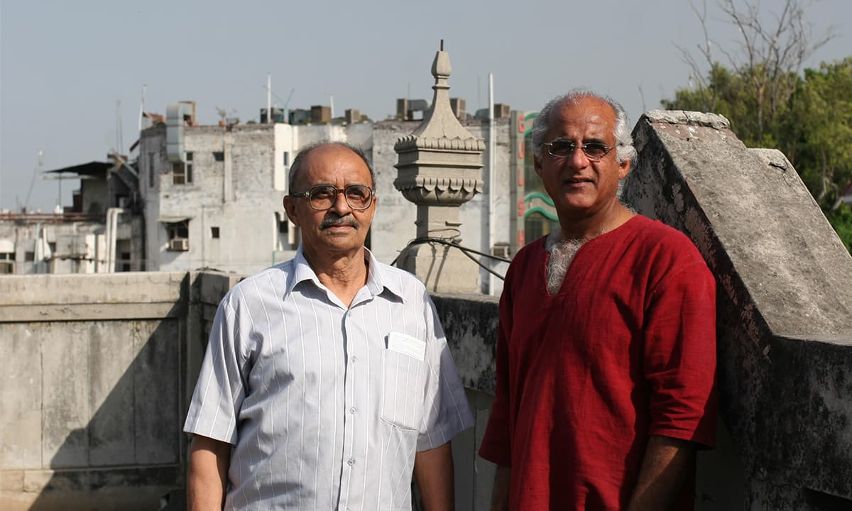 Rashid (right) with Mohinder Pratap Sehgal on the roof of Habib Manzil