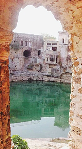 The Katas Raj pond used to irrigate nearby orchards in the past | Talha Malik
