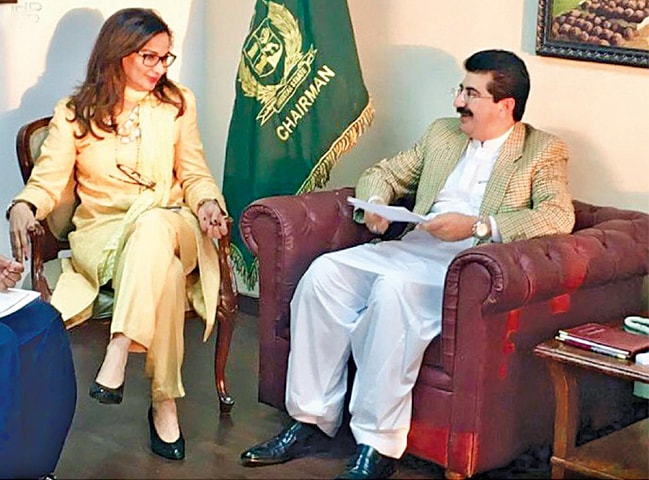 ISLAMABAD: Senator Sherry Rehman submits her nomination for the post of the leader of the opposition in the Senate to Chairman Sadiq Sanjrani on Thursday.—INP