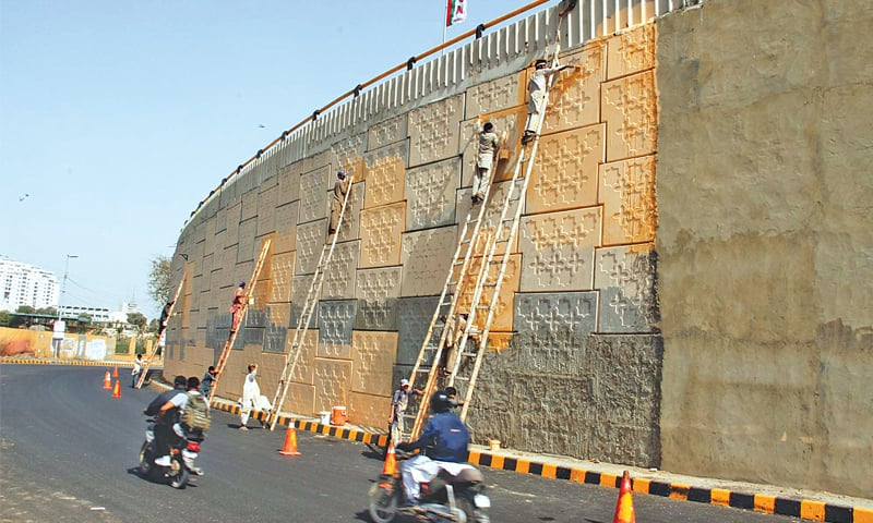 WORK is under way on Friday at the flyover next to the National Stadium in preparation for the PSL final.—PPI