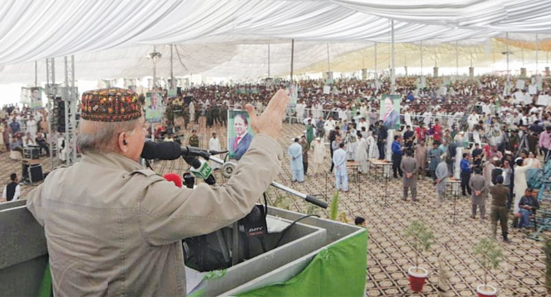 DERA GHAZI KHAN: PML-N president and Punjab Chief Minister Shahbaz Sharif speaks at the rally on Saturday.—Online