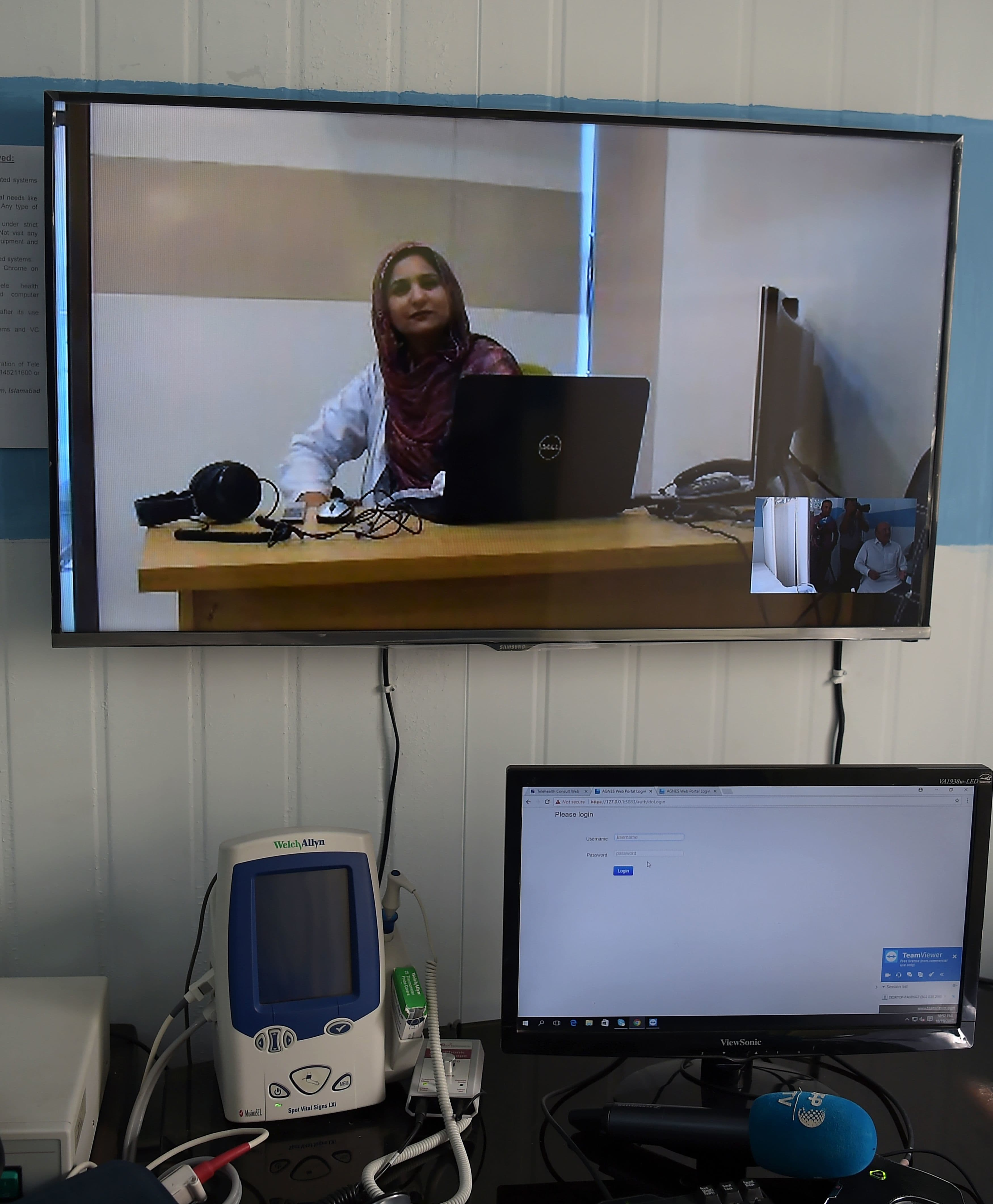 Dr Nadia Rasheed speaks during an interview with *AFP* on Skype at a telemedicine online treatment centre run by the government of KP in the remote Behali area in Mansehra district. — AFP