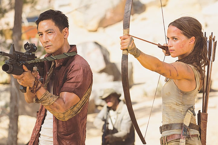 ACTORS Daniel Wu as Lu Ren and Alicia Vikander as Lara Croft in Tomb Raider.—The Washington Post