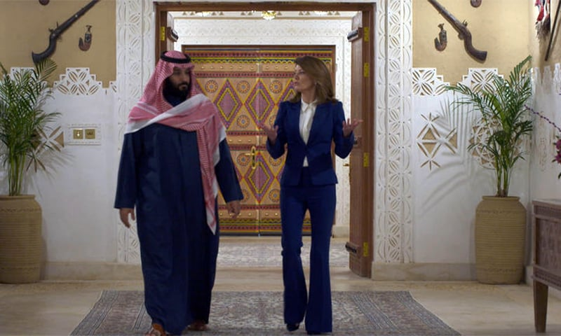 Saudi Crown Prince Mohammed bin Salman with CBS News correspondent Norah O'Donnell. — Photo courtesy CBS News