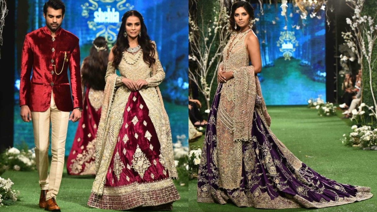 The heaviest bridal wear was most exquisite: Fauzia Aman dazzling in maroon and gold, Sunita Marshall in a gorgeous violet lehnga paired with an ivory backless shirt