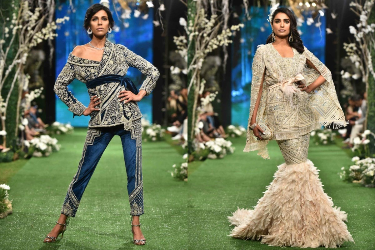 Fayezah Ansari swaggered in a midnight blue suit and Amna Ilyas walked down the runway in a cape and feathered skirt
