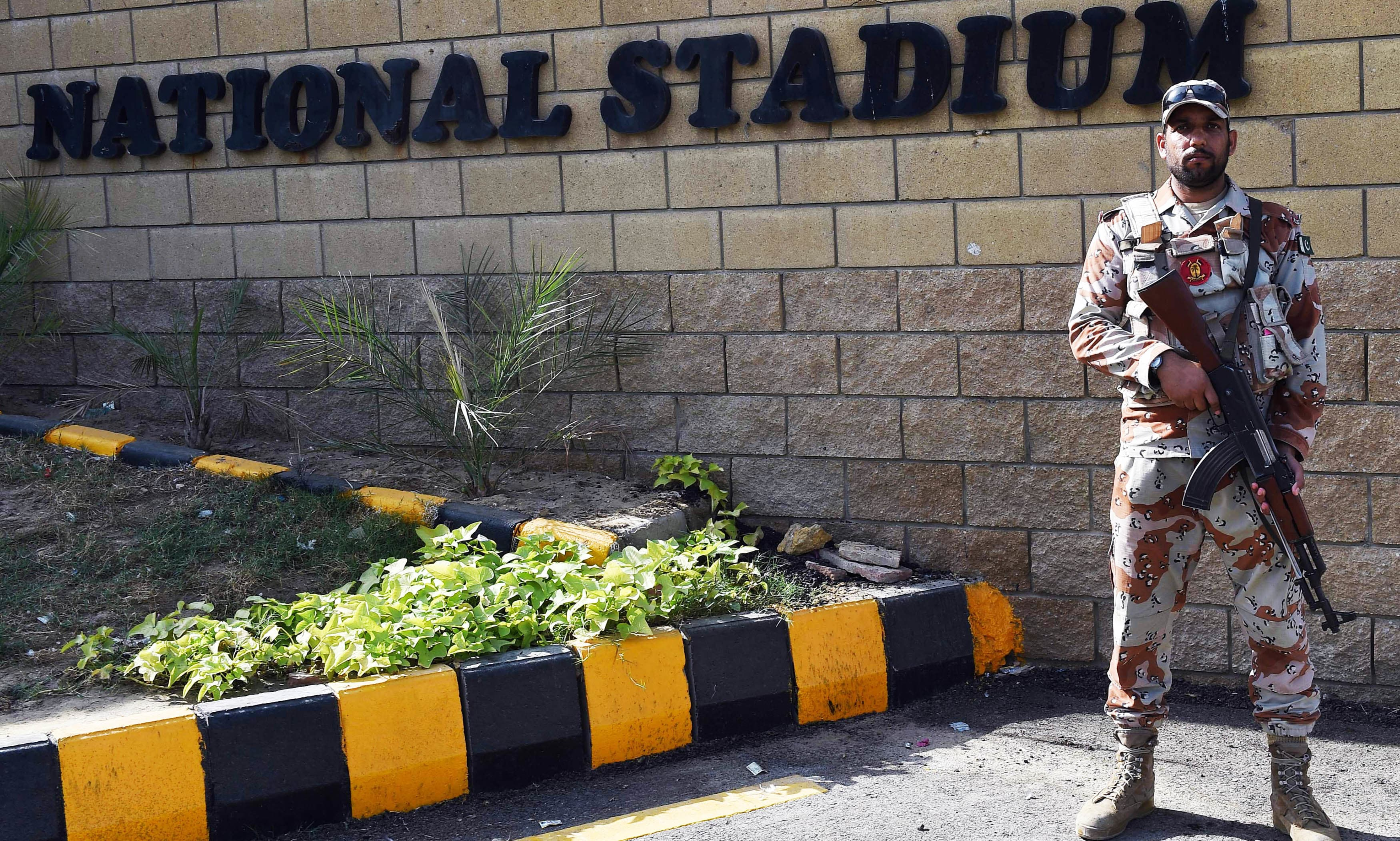 Rangers stands guard outside the National Cricket Stadium. —AFP