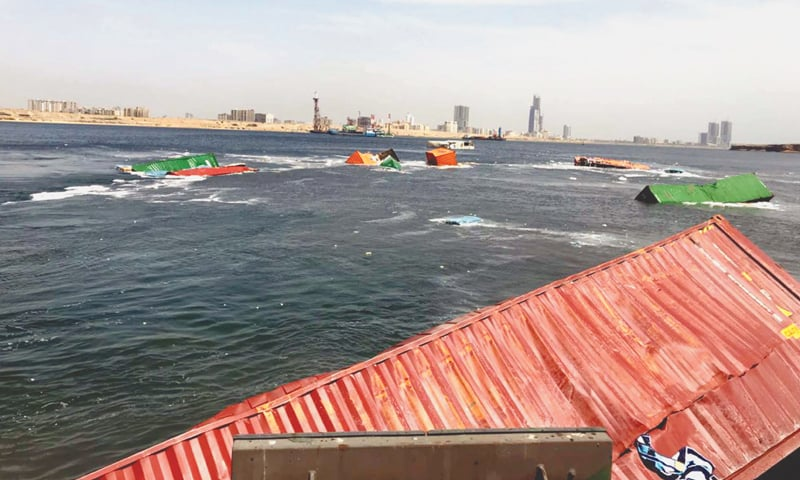 19 containers fall into sea as ships collide at Karachi port