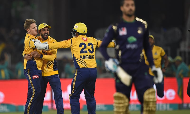 Zalmi players celebrate the dismissal of Anwar Ali — PSL