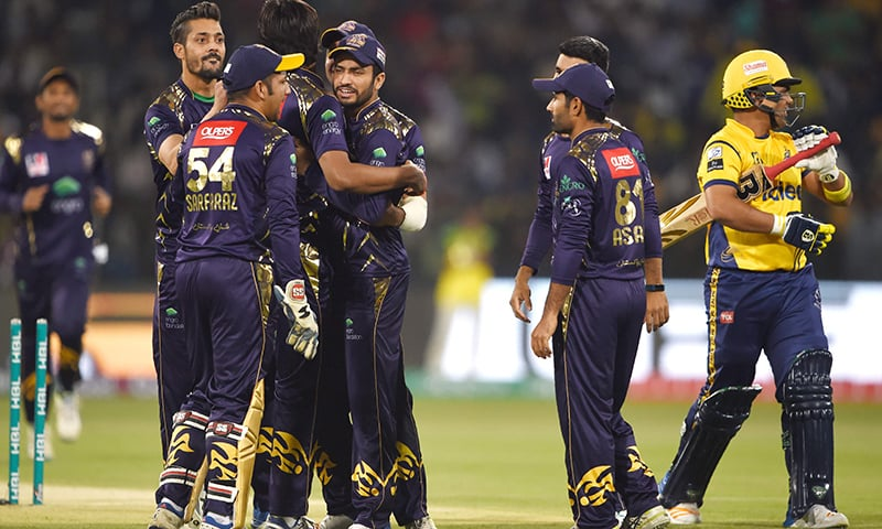 Quetta Gladiators players celebrate the dismissal of Kamran Akmal — PSL