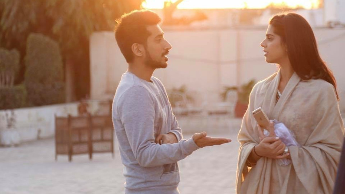 Director Asim Abbasi in conversation with Sanam Saeed on the sets of Cake
