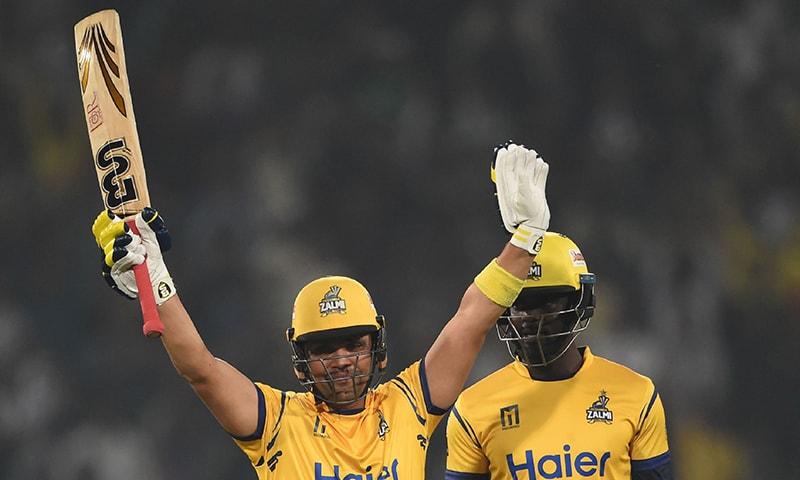 Kamran Akmal celebrates after he scored a half century — AFP