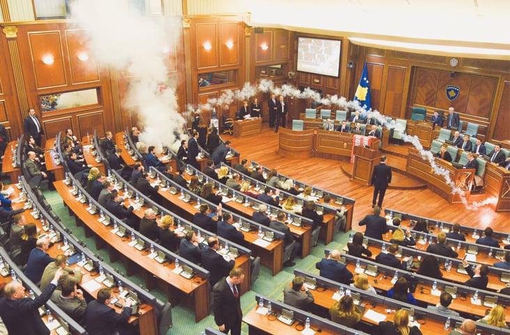 Politicians set off tear gas in Kosovan parliament over border dispute