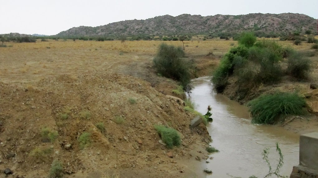 A stream flowing from Karoonjhar Hills in Thar Desert near the Indian border in Sindh. ─ Photo by author