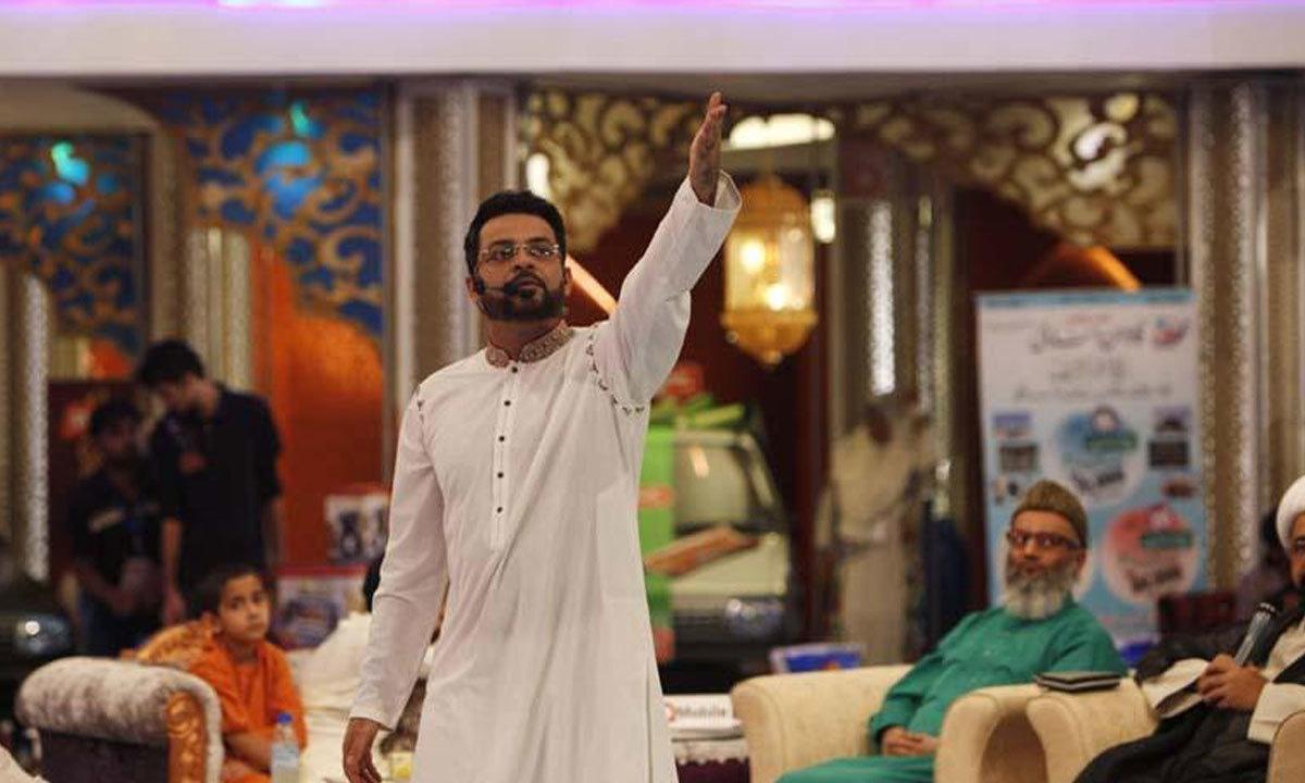 Aamir Liaquat Husain hosting his Geo Television Ramzan broadcast in 2013 | Reuters