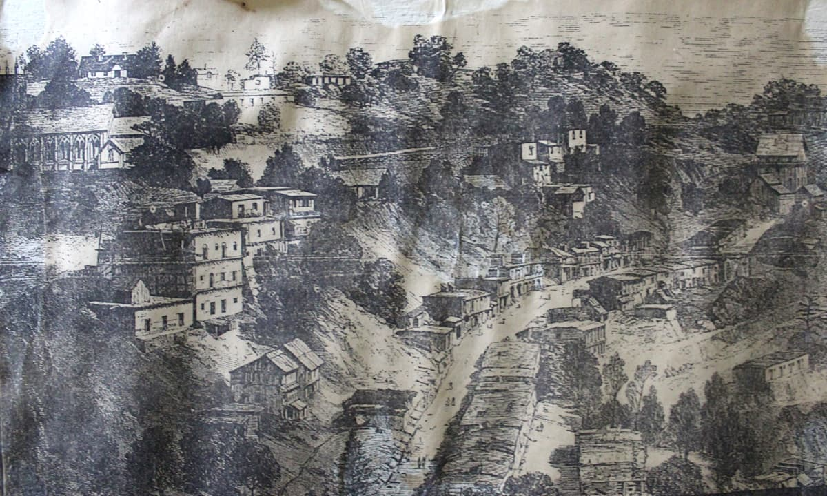 An old image of Murree from 1869 hanging in Shifaul Haq's office | Danyal Adam Khan