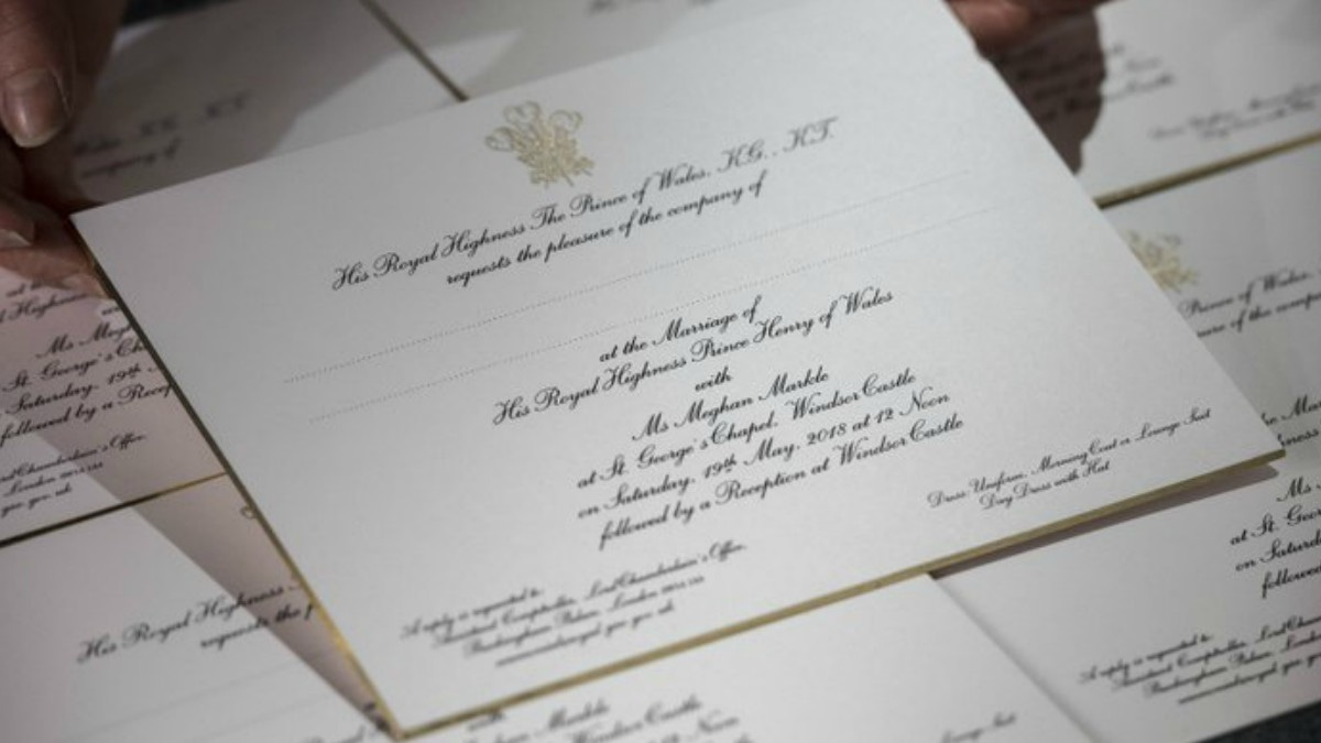 Invitations for the wedding of Britain's Prince Harry and US actress Meghan Markle are pictured, after they have been printed at the workshop of Barnard and Westwood in London on March 22, 2018 — AFP