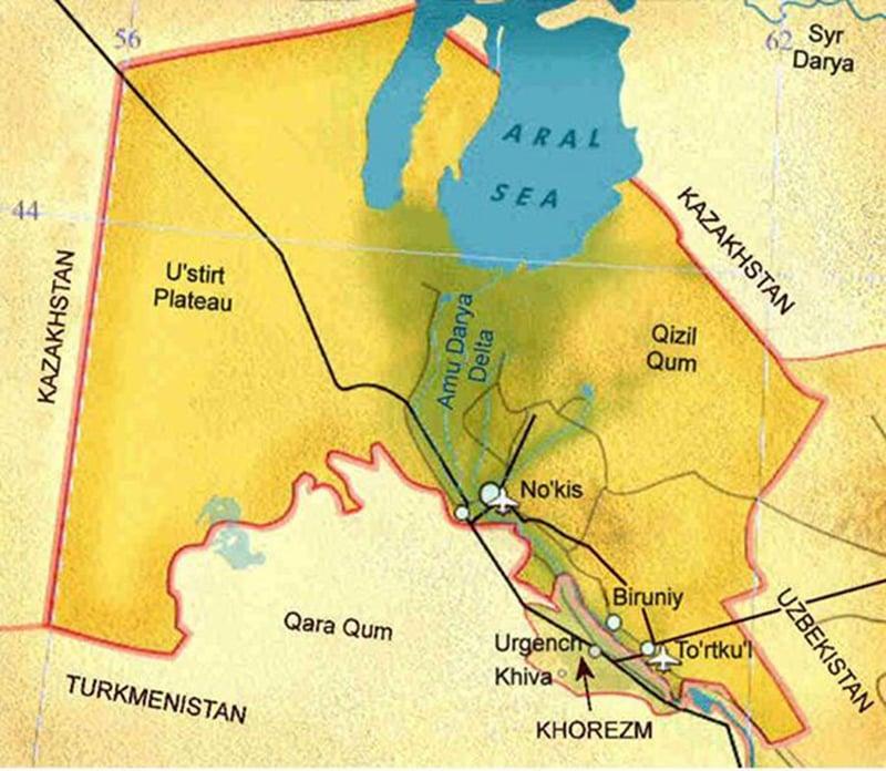 قراقل پاک ستان کا نقشہ۔ بشکریہ karakalpak.com