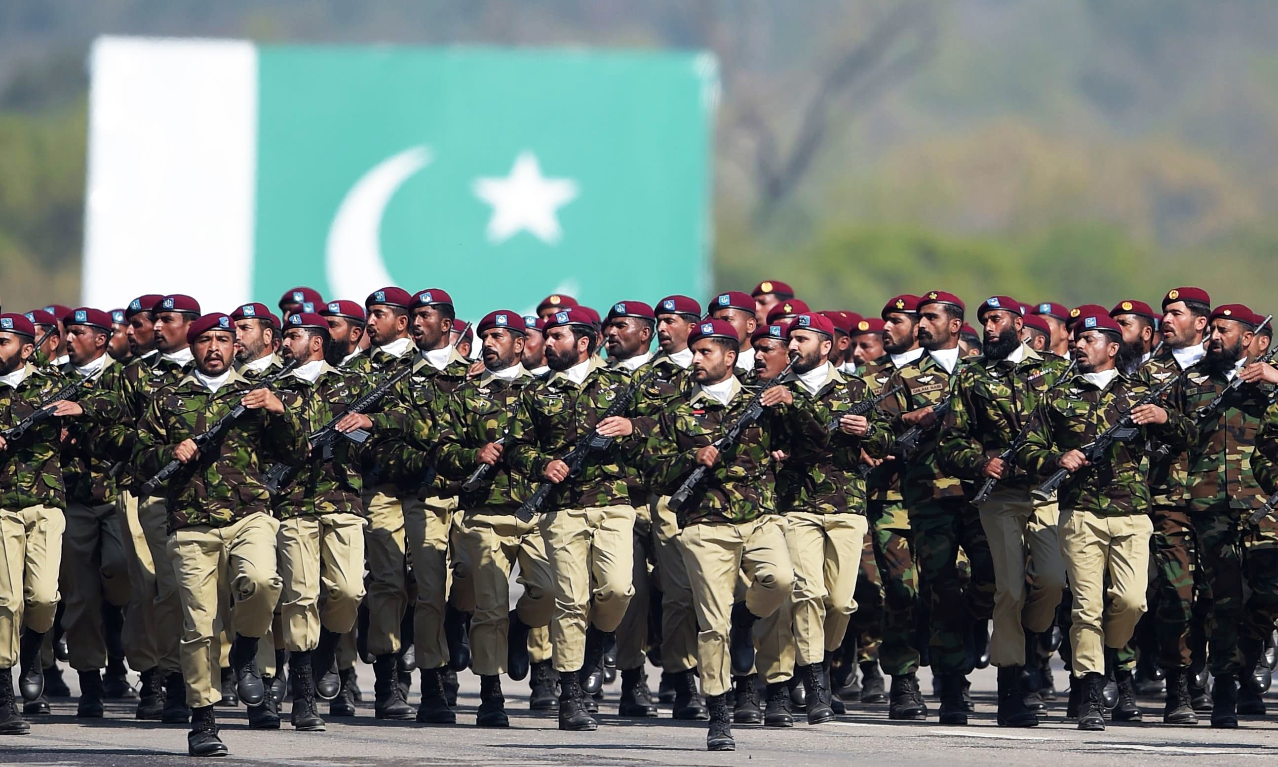 SSG personnel march during the Pakistan Day parade in Islamabad. —AFP