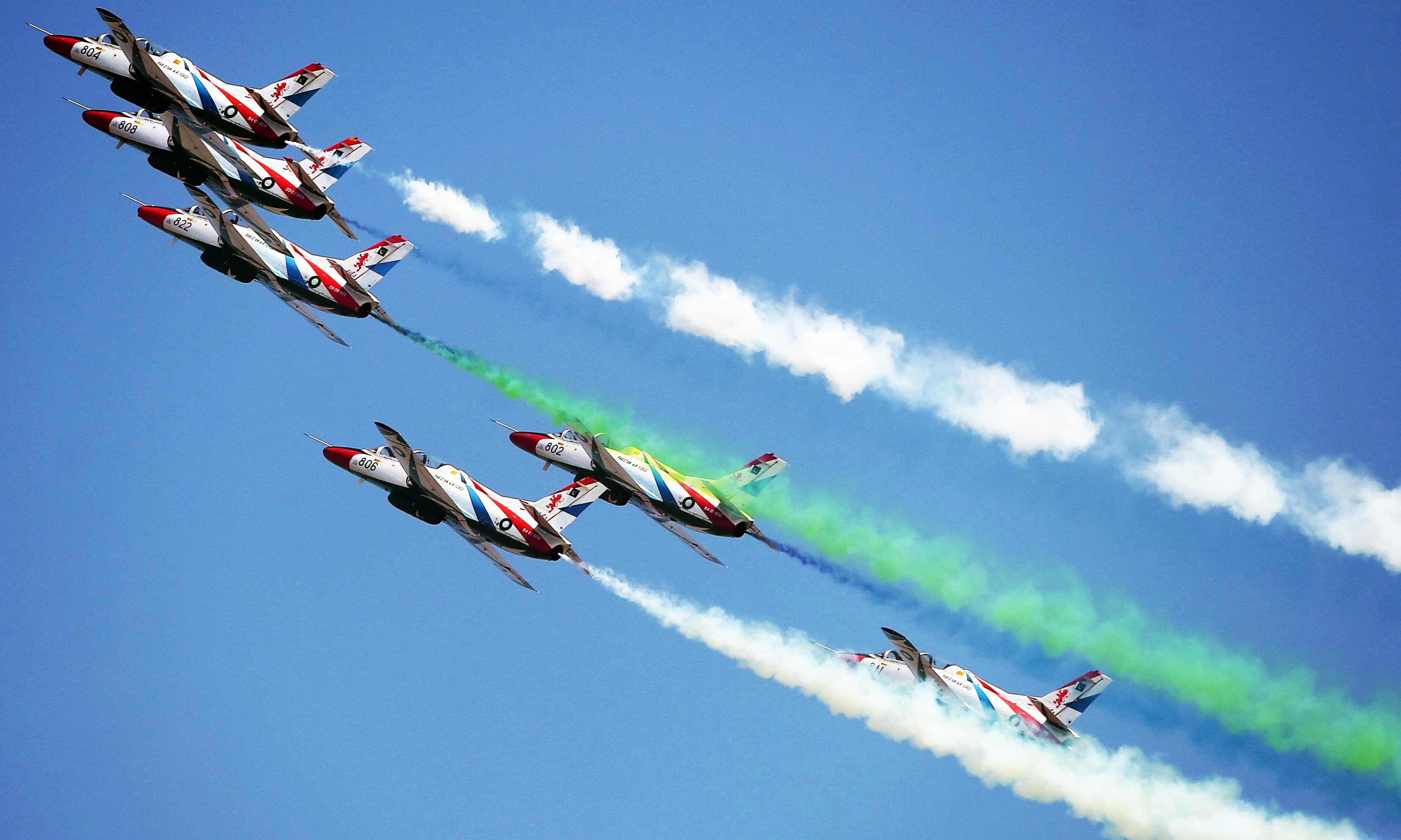 Sherdils perform aerobatic manouvers during the Pakistan Day parade. —AFP