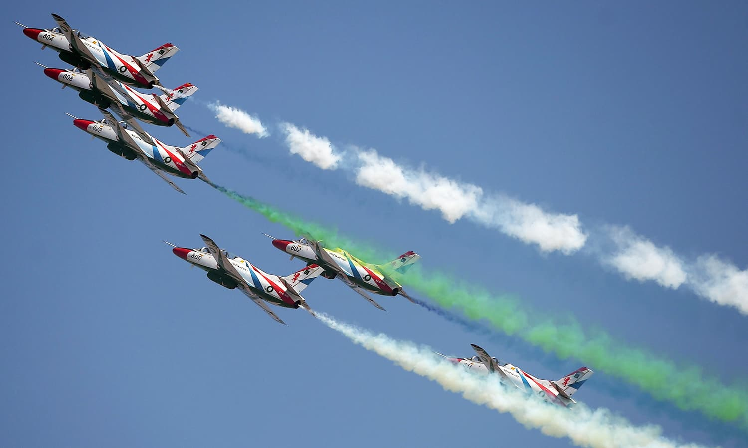 Pakistani jets perform aerobatic manoeuvres during the Pakistan Day military parade in Islamabad. ─AFP