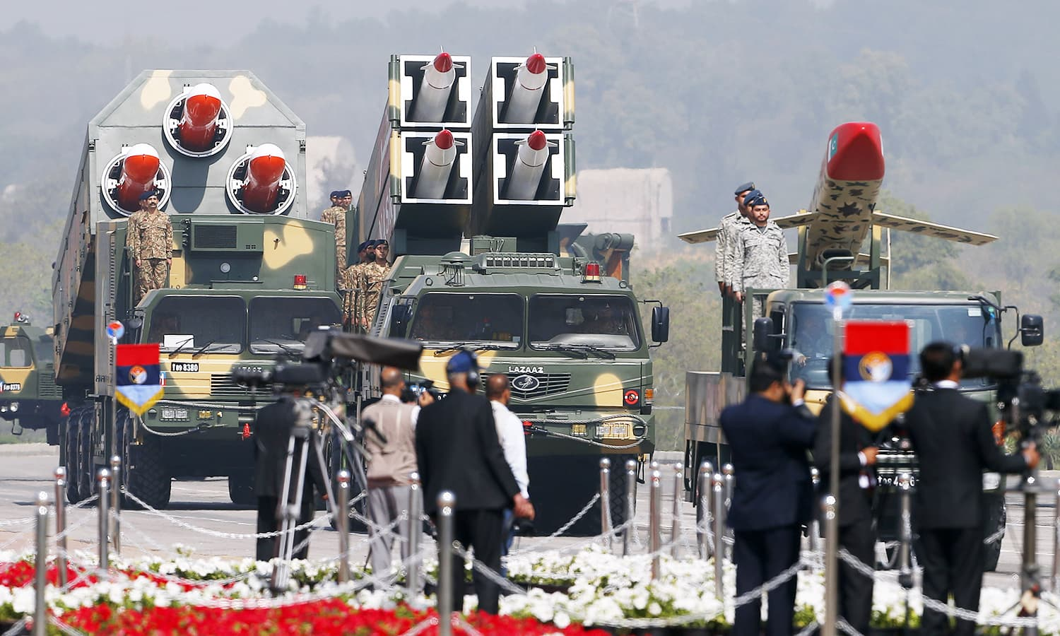 Pakistani missiles are on display during the Pakistan Day military parade in Islamabad. ─AP