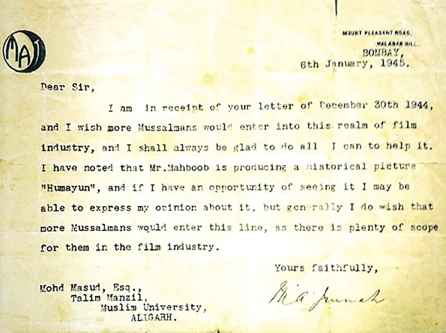A letter from Quaid-i-Azam Mohammad Ali Jinnah, expressing his interest in seeing more Muslims engage positively with the film industry | Photos from the book