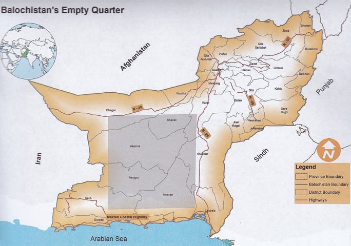 "A map showing the extensive area comprising the ""Empty Quarter"", one of the most underdeveloped areas in Balochistan despite having produced five chief ministers 