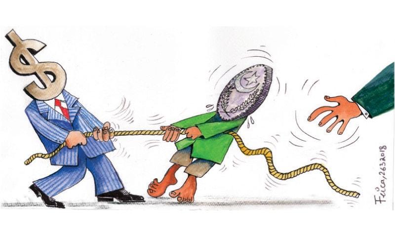 ملک کی معاشی تاریخ میں امریکا اور امریکی کرنسی ڈالر کا عمل دخل خاصا اہم رہا ہے—کارٹون: فیکا