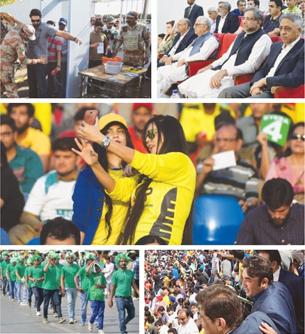 THIS combo shows (Top left) Rangers search fans at the National Stadium gates. (Top right) Prime Minister Shahid Khaqan Abbasi with Sindh Governor Muhammad Zubair, KP Governor Iqbal Zafar Jhagra, PCB chairman Najam Sethi and Minister of State for Information Marriyum Aurangzeb. (Centre) A woman takes a selfie during the match. (Bottom right) Sindh Chief Minister Murad Ali Shah and PPP chairman Bilawal Bhutto-Zardari. (Bottom left) Fans enter the stadium.—Agencies