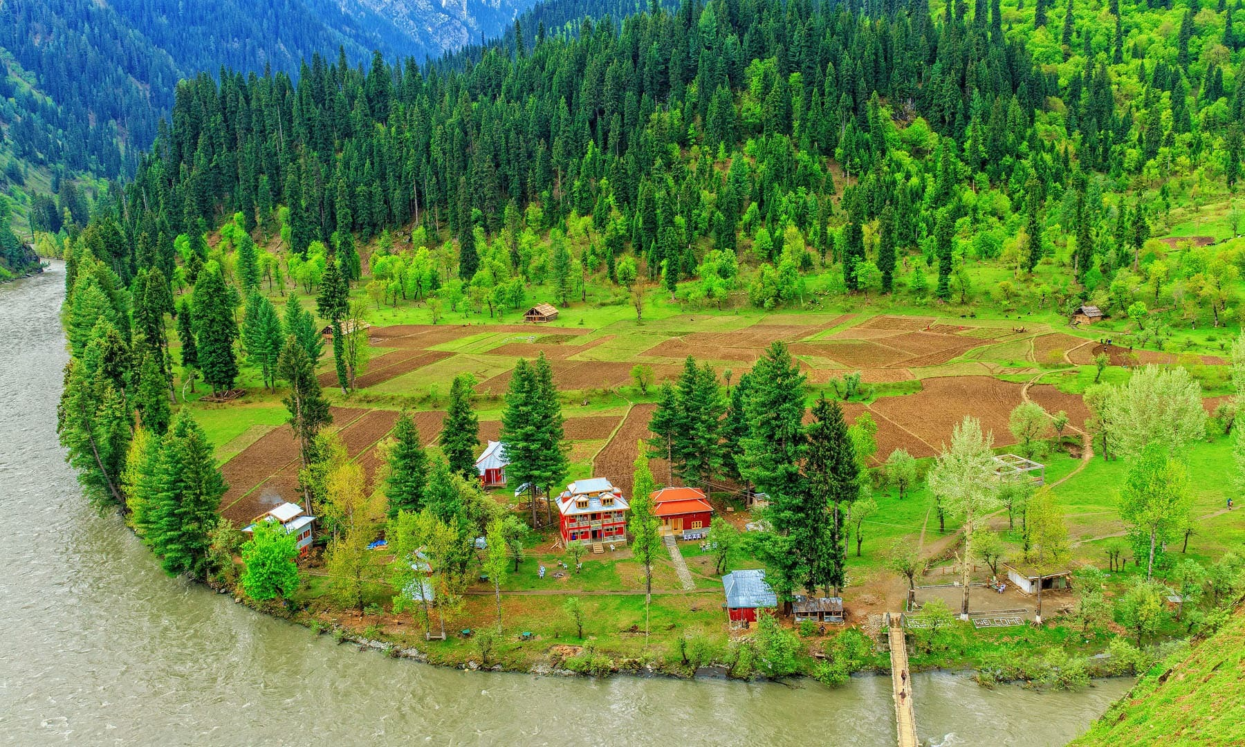 An aerial view of Tau Butt and the Neelum River, which serves as the LoC in various parts of Kashmir. — S.M.Bukhari's Photography