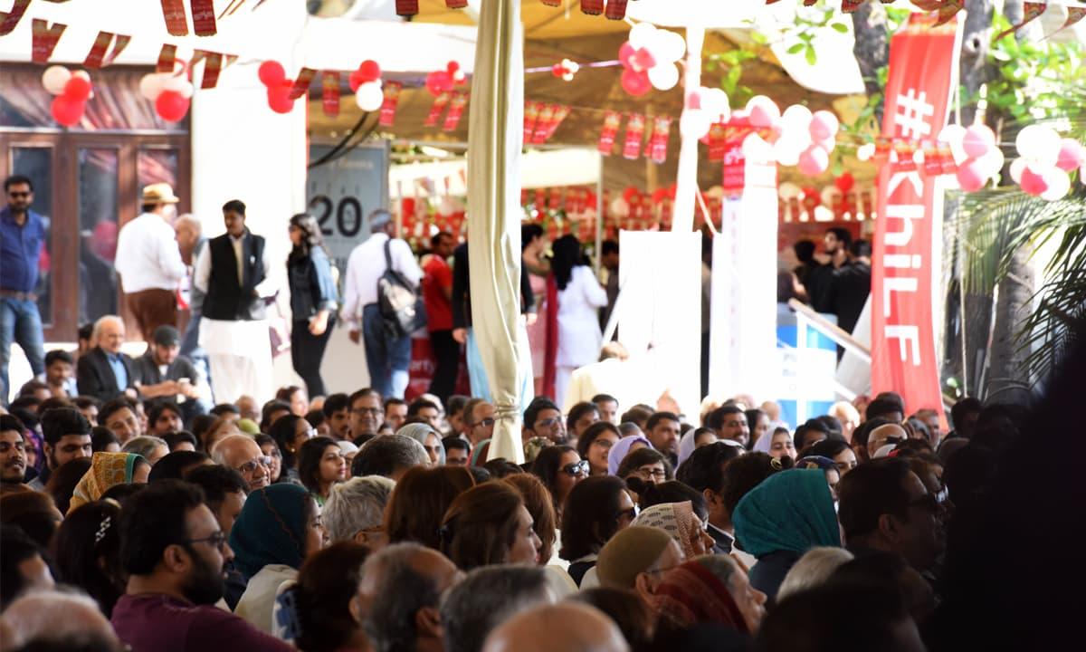 Attendees at the ninth annual Karachi Literature Festival | Tahir Jamal, White Star
