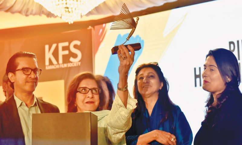 SULTANA Siddiqui holds aloft one of the trophies to be awarded to winning films on Wednesday.—Fahim Siddiqi / White Star