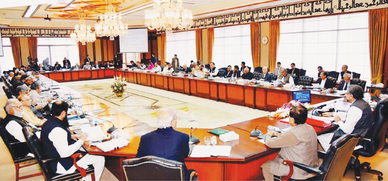 Prime Minister Shahid Khaqan Abbasi chairs a meeting of the federal cabinet at the Prime Minister's Office on Wednesday.—PPI