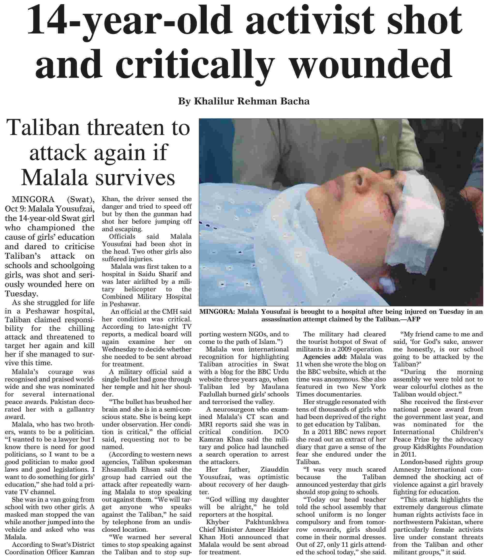 A Dawn newspaper clipping from Oct 10, 2012.
