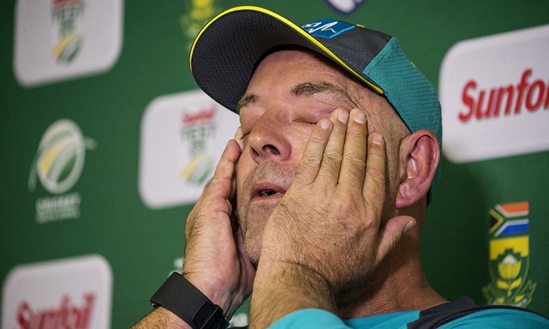 Lehmann wipes his eyes during a press conference in Johannesburg — AFP