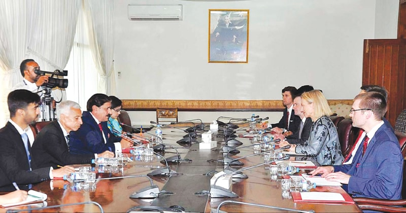 US Assistant Secretary of State Alice Wells holds talks with National Security Adviser Nasser Khan Janjua in Islamabad on Thursday.—APP
