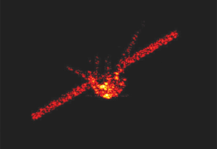 This radar image captures the shape of the falling space station. The image was released by Germany's Fraunhofer Institute for High Frequency Physics, Bonn.—AP