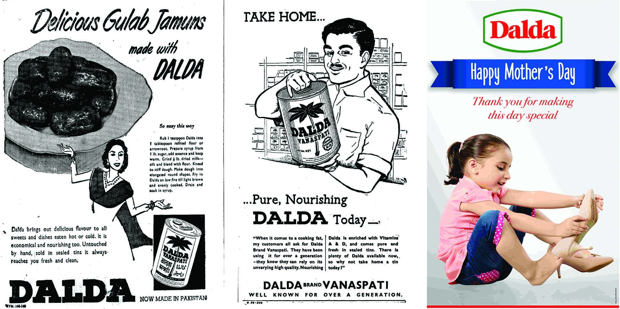 Dalda ads from 1952, 1961 and 2017