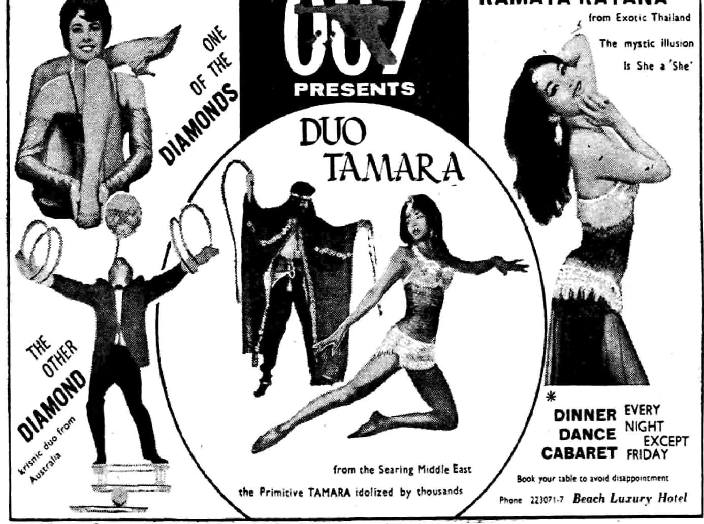 Advertisements for cabaret shows held at the Beach Luxury Hotel, Hotel Metropole and Palace Hotel were regularly published in Dawn in the fifties and sixties. Other hotels well-known for their cabaret shows included the InterContinental Hotel and The Excelsior.