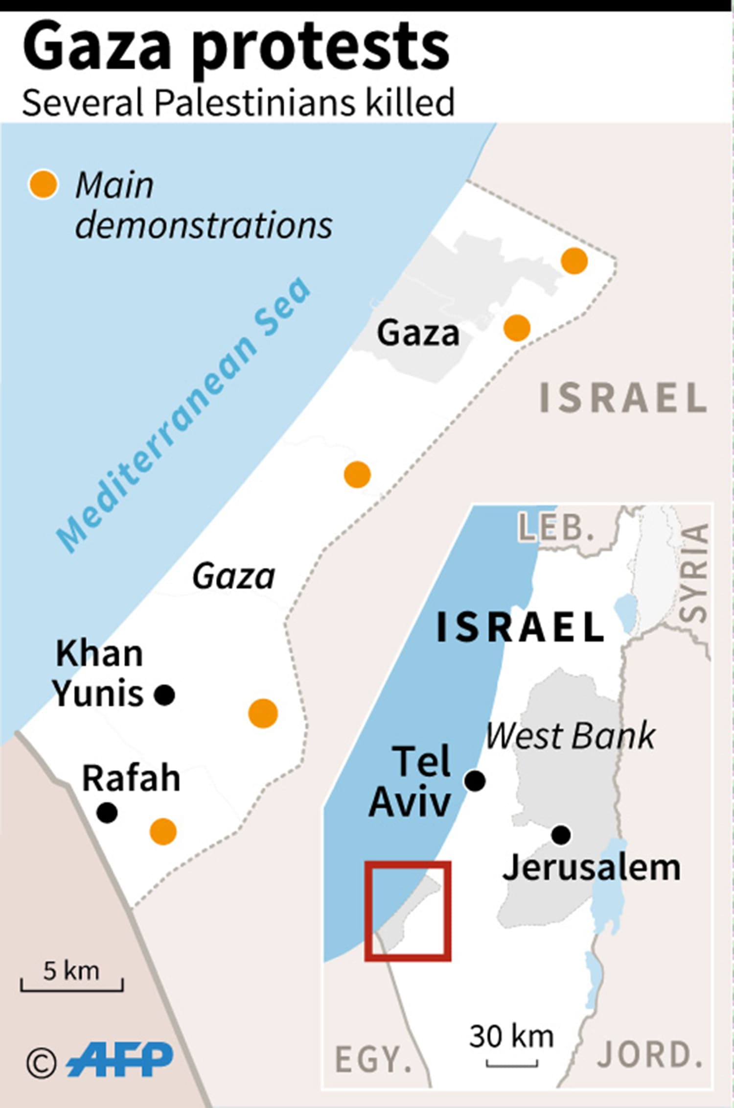 Map showing sites of protest in Gaza. ─AFP