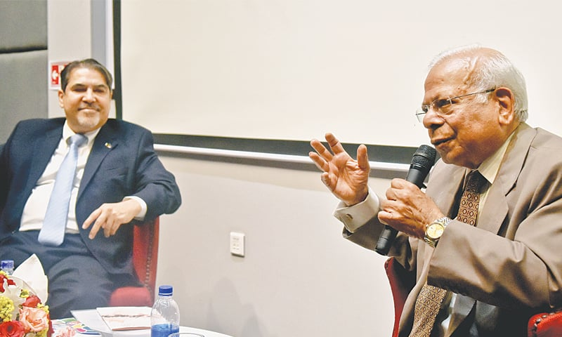 DR Ishrat Husain speaks at the IBA on Friday.—Fahim Siddiqi / White Star