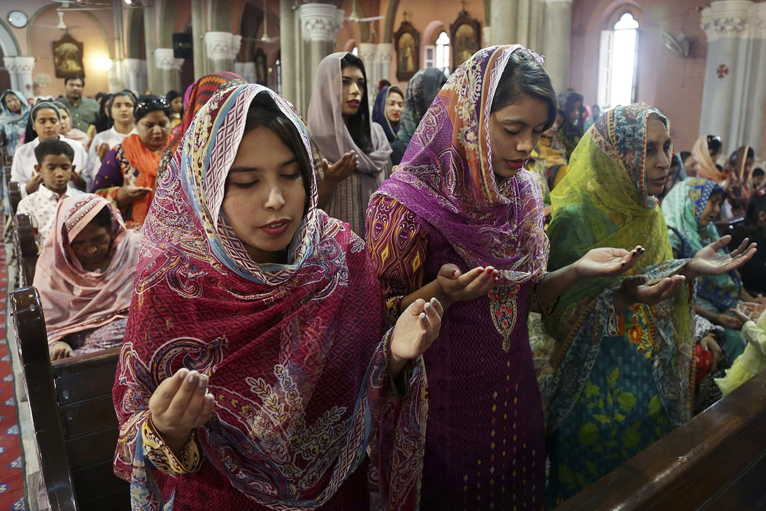 Christians attend Easter service at Sacred Heart Cathedral, in Lahore. —AP